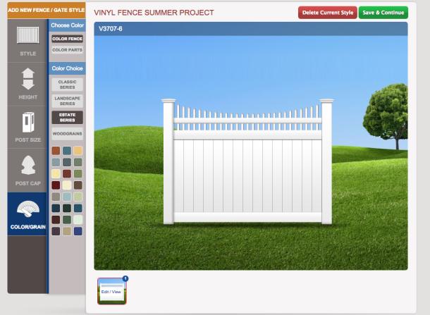 The Fence Customizer platform with 35+ colors and plentiful styles and other options.