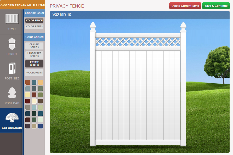 Using the Fence Design Center to make a privacy fence.